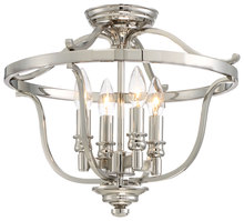 Minka-Lavery 3296-613 - 4 Light Semi Flush Mount in Polished Nickel w/Clear Glass