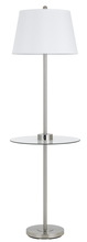 CAL Lighting BO-2735GT-BS - 150W 3 way Woodbury metal floor lamp with glass tray table and two USB charging ports