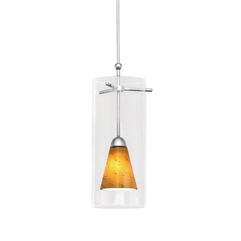 Berkeley Lighting Company in Berkeley, California, United States,  103GQQZ, Konic Quick Connect Pendant - Amber Shade with Brushed Nickel Socket Set, Konic
