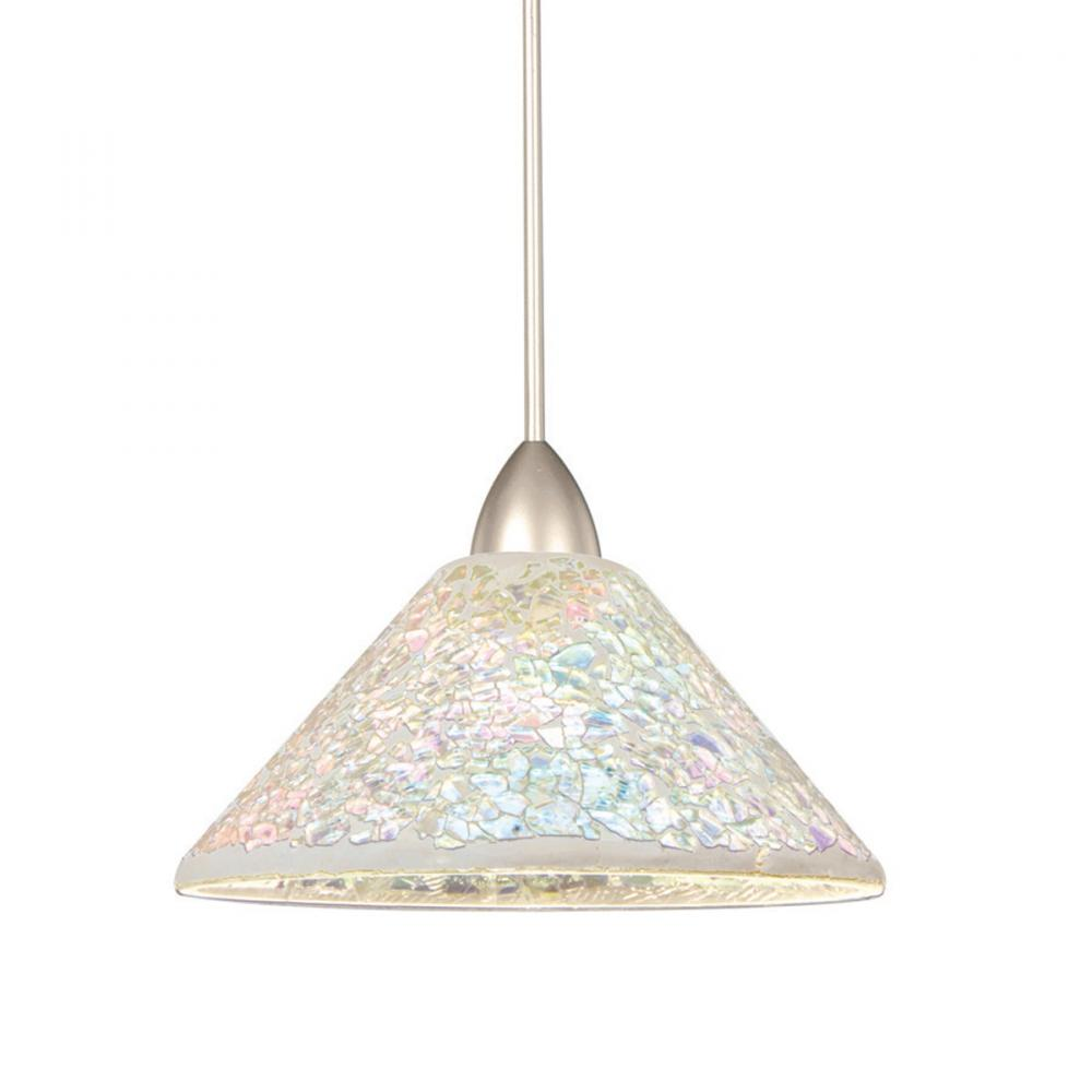 Berkeley Lighting Company in Berkeley, California, United States,  103GPRK, Micha Quick Connect Pendant - Dichroic Shade with Brushed Nickel Socket Set, Micha