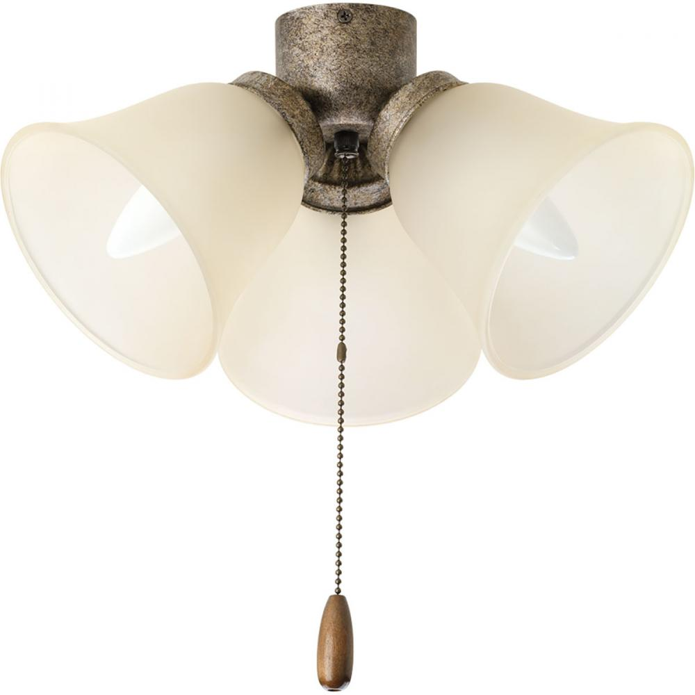 Berkeley Lighting Company in Berkeley, California, United States,  1RDD9, Three-light universal fan light kit with three light umber etched glass shades and a refreshing pebb, AirPro