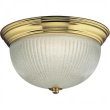 Progress P7364-10EBWB - Two Light Polished Brass Ice, Semi-clear Ribbed Glass Bowl Flush Mount