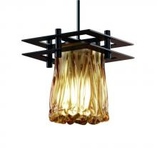Justice Design Group GLA-8165-16-AMBR-DBRZ-BKCD - Metropolis 1-Light Small Pendant (2 Flat Bars)