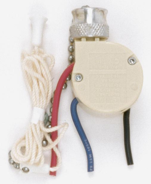Berkeley Lighting Company in Berkeley, California, United States, Satco Products Inc. 90/689, 3 Way Ceiling Fan Switch, 2 Circuit w/Metal Chain,White Cord & Bell - Rated: 6A-125V, 3A-250V,