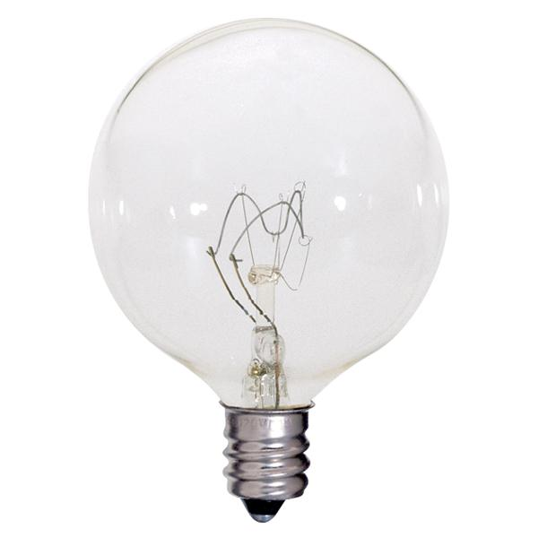 Berkeley Lighting Company in Berkeley, California, United States,  720K, 60 watt; G16 1/2; Clear; 2500 average rated hours; 720 lumens; Candelabra base; 120 volts,