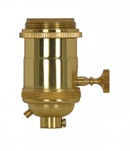 Satco Products Inc. 80/2569 - Medium base lampholder; 4pc. Solid brass; On/Off Key; 2 Uno rings; Polished brass finish