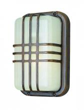 Trans Globe 41104 RT - One Light Rust Frosted Polycarbonate, Rectangle, Ribbed Glass Marine Light