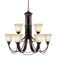 Sea Gull Canada 31498-710 - Park West Nine Light Chandelier in Burnt Sienna with Cafe Tint Glass