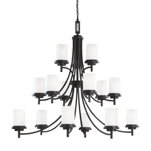 Sea Gull Canada 31663BLE-839 - Fluorescent Winnetka Fifteen Light Chandelier in Blacksmith with Satin Etched Glass
