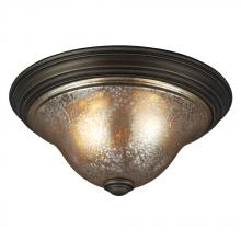 Sea Gull 7570402BLE-736 - Fluorescent Blayne Two Light Ceiling Flush Mount in Platinum Oak with Mercury Glass