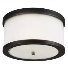 Sea Gull 7822402-12 - Bucktown Two Light Outdoor Ceiling Flush Mount in Black with Satin Etched Glass