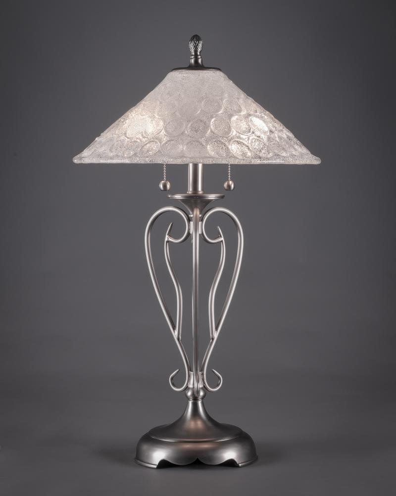 Two Light Brushed Nickel Italian Bubble Glass Table Lamp