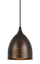 "CAL Lighting UP-1011/6-BS - 9.1"" Tall Metal Pendant In Rust"