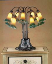 "Meyda Tiffany 14357 - 22""H Amber/Green Pond Lily 10 LT Table Lamp"