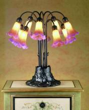 "Meyda Tiffany 14429 - 22""H Amber/Purple Pond Lily 10 LT Table Lamp"